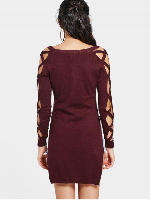 chic Criss Cross Long High Low Sweater - WINE RED S Mobile