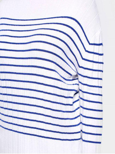 affordable Contrasting Stripes Flare Sleeve Sweater - STRIPE S Mobile