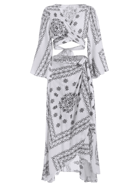 Crossover Cut Out Top et envelopper jupe asymétrique - Blanc et Noir M Mobile