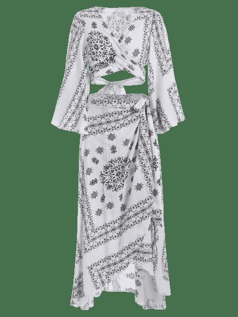 Crossover Cut Out Top et envelopper jupe asymétrique - Blanc et Noir L Mobile