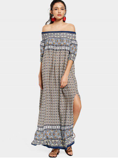 shops Printed Slit Off Shoulder Maxi Dress - PURPLISH BLUE ONE SIZE Mobile