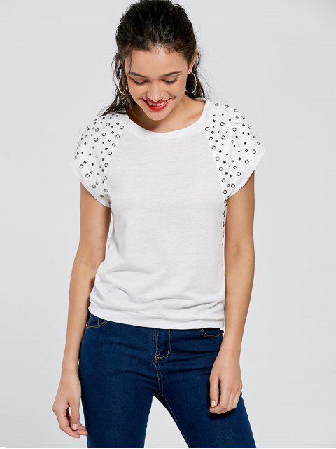 shop Raglan Sleeve Rivet Tee - WHITE L Mobile