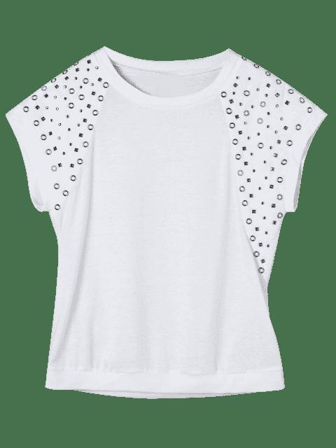 fancy Raglan Sleeve Rivet Tee - WHITE 2XL Mobile