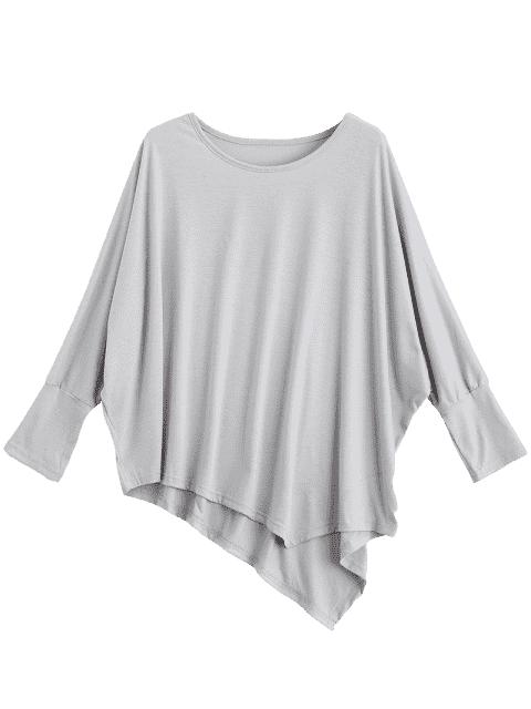 affordable Dolman Sleeve Asymmetric Tee - LIGHT GRAY ONE SIZE Mobile