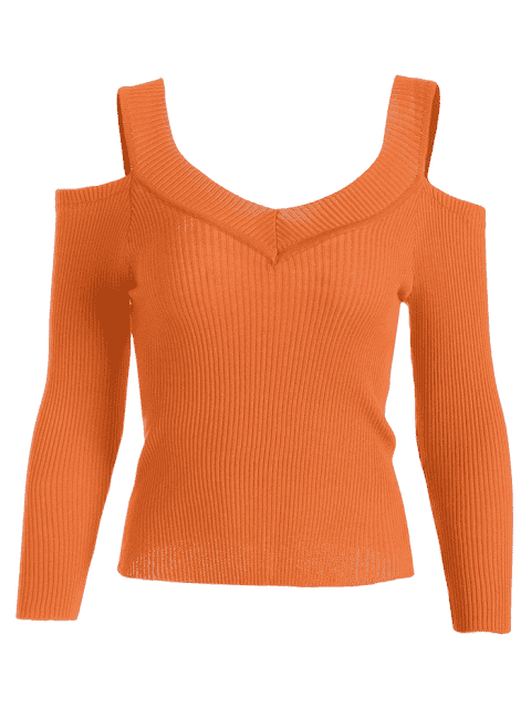 best Cold Shoulder Ribbed Knitted Tee - ORANGE ONE SIZE Mobile