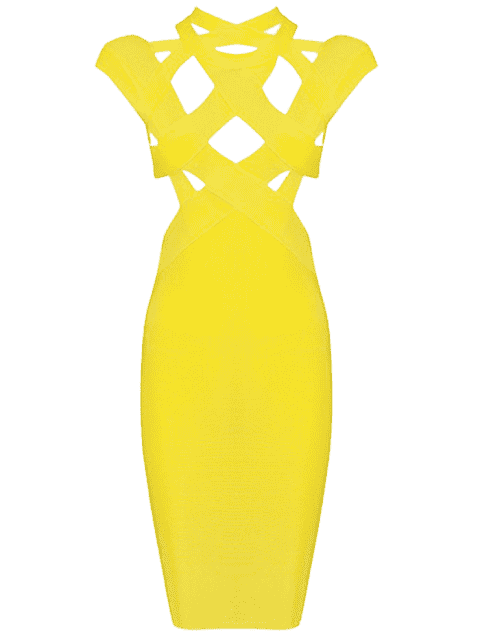 shop Cut Out Fitted Bandage Dress - YELLOW S Mobile
