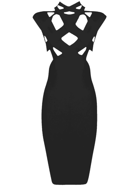 trendy Cut Out Fitted Bandage Dress - BLACK M Mobile
