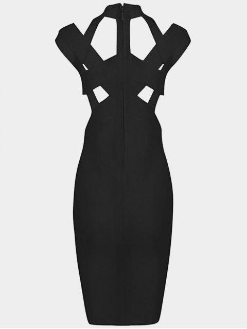 chic Cut Out Fitted Bandage Dress - BLACK S Mobile