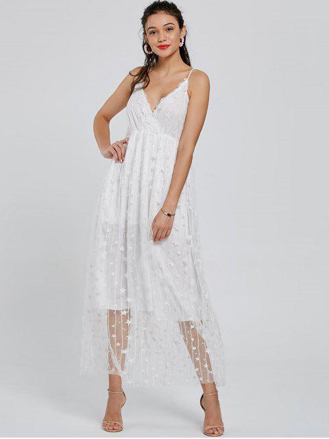 womens Allover Star Maxi Flowing Slip Dress - WHITE S Mobile
