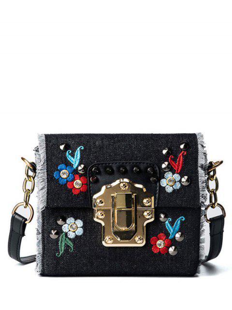 trendy Rivets Denim Embroidered Crossbody Bag - BLACK  Mobile