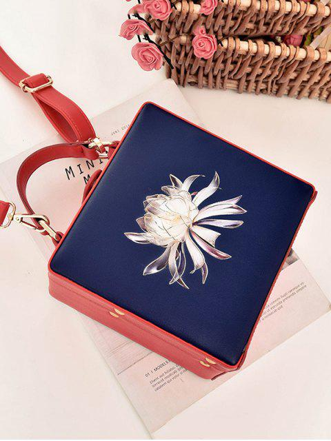 chic Floral Print Box Shaped Crossbody Bag - BLUE  Mobile