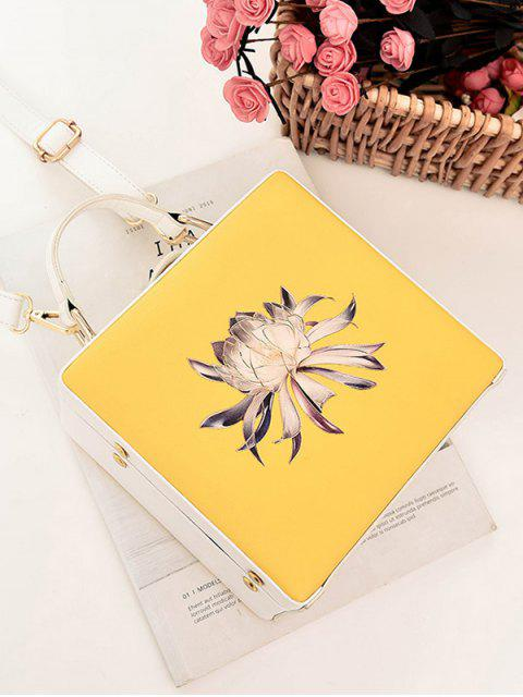 fancy Floral Print Box Shaped Crossbody Bag - YELLOW  Mobile