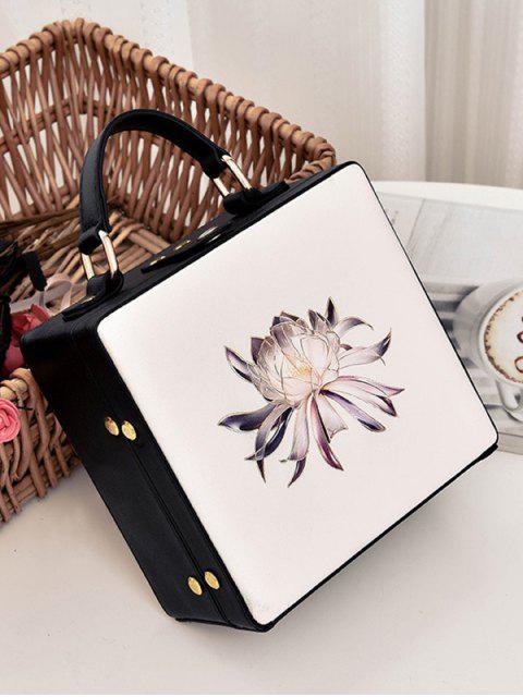 unique Floral Print Box Shaped Crossbody Bag - OFF-WHITE  Mobile