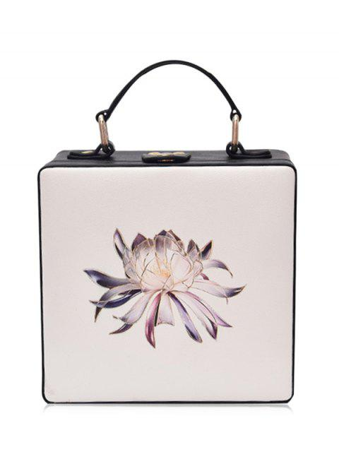 unique Floral Print Box Shaped Crossbody Bag - OFF-WHITE  Mobile
