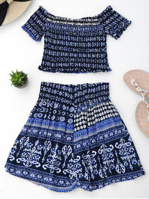 Ensemble Tribal Print Crop Top et Skorts - Bleu Violet M Mobile