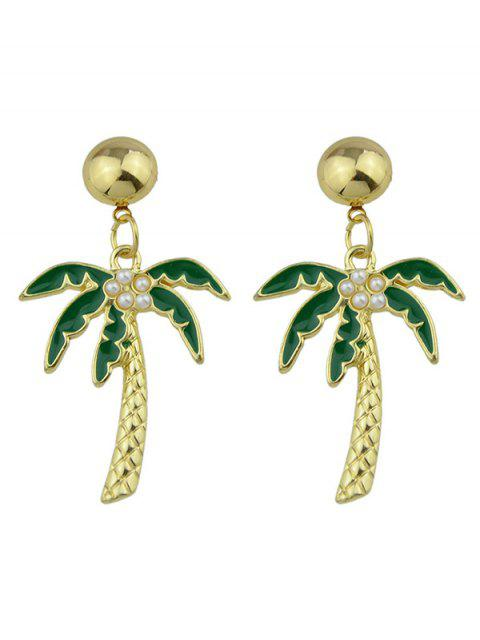 hot Coconut Tree Pendant Earrings - GREEN  Mobile