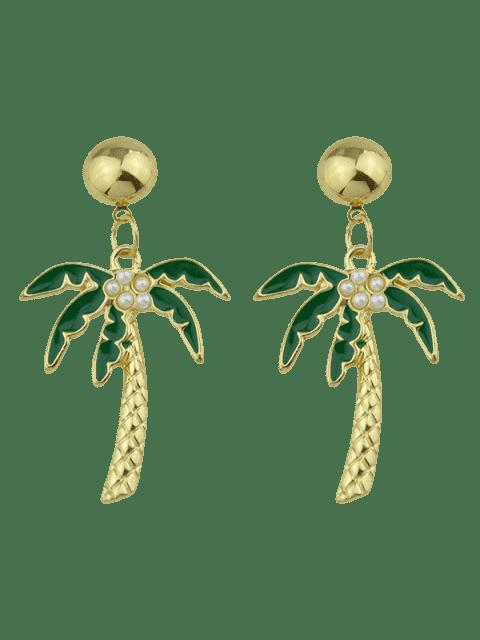 Boucles d'oreilles pendentif en cocotier - Vert  Mobile