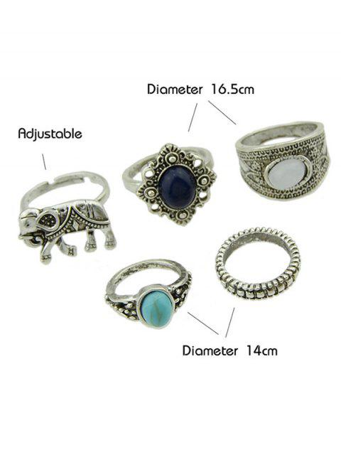 fancy 5 Pieces Bohemia Elephant Rings - SILVER  Mobile