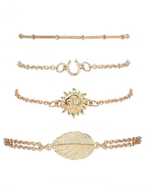 women's Sun Leaf Bracelets Suit - GOLDEN  Mobile