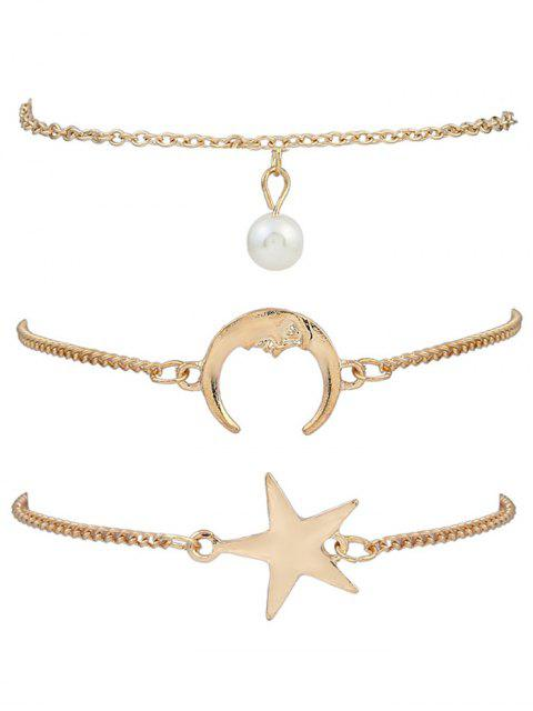 women 3 Pieces Moon Star Bracelets - GOLDEN  Mobile