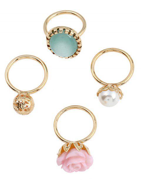 trendy 4 Pieces Rose Faux Gem Rings - GOLDEN  Mobile