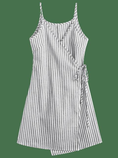 womens Cami Striped Wrap Dress - GRAY L Mobile