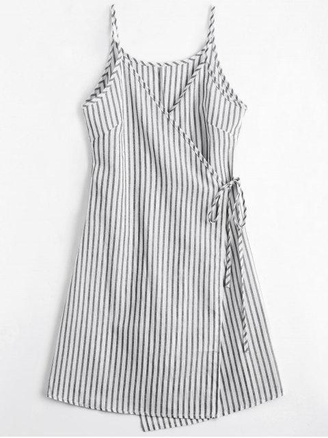 women Cami Striped Wrap Dress - GRAY M Mobile