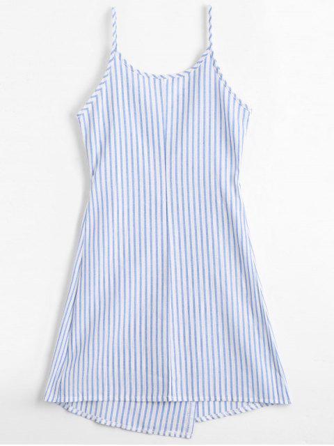 lady Cami Striped Wrap Dress - BLUE L Mobile