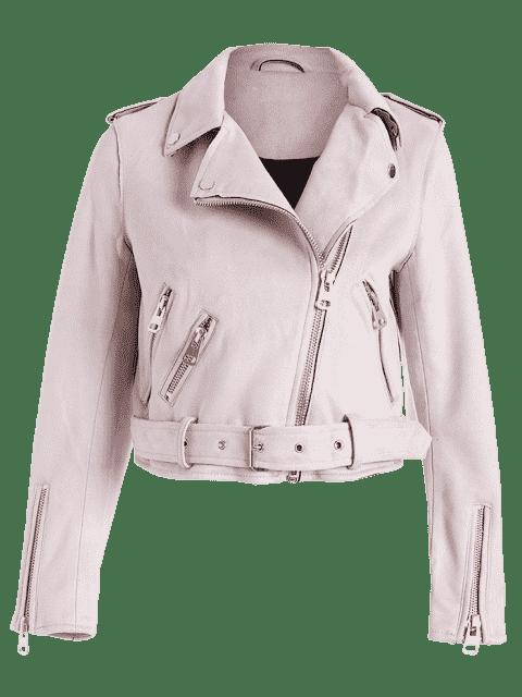 online Asymmetric Zipper Belted Faux Suede Jacket - LIGHT PINK S Mobile