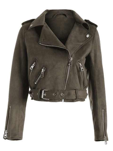 best Asymmetric Zipper Belted Faux Suede Jacket - BROWN S Mobile