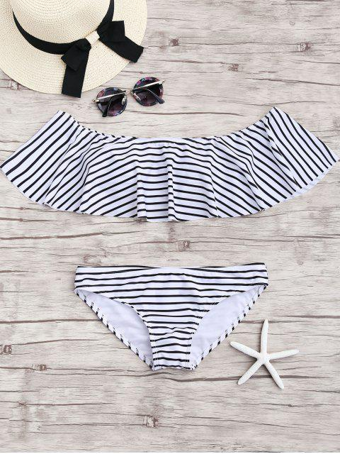 fancy Stripe Ruffles Off The Shoulder Bikini Set - WHITE S Mobile