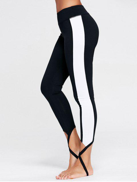 affordable Color Block Sports Stirrup Leggings - BLACK S Mobile