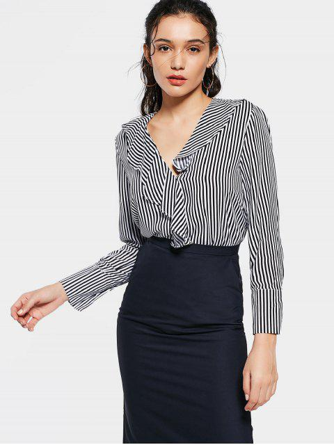 lady Fitting Stripes Ruffles Blouse - STRIPE S Mobile