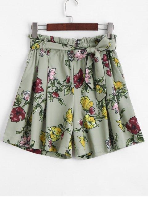 Short Taille Haute Floral Smocké - Floral L Mobile