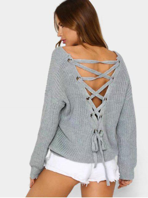 buy Back Lace Up V Neck Pullover Sweater - GRAY ONE SIZE Mobile