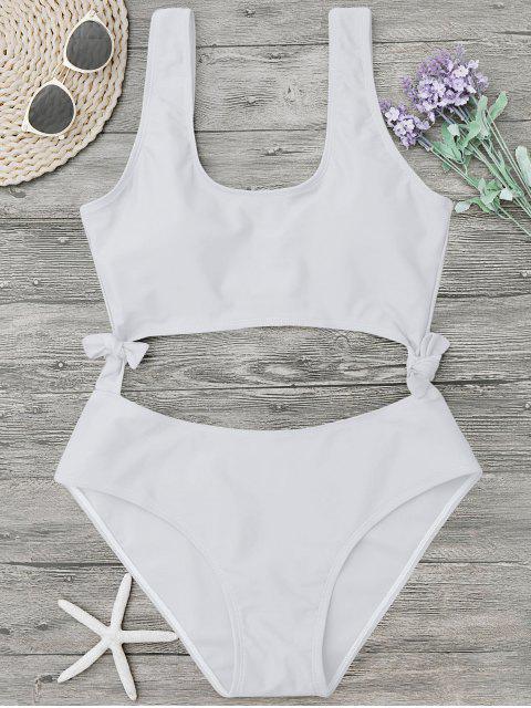latest High Leg Cut Out Bowknot Swimwear - WHITE XL Mobile