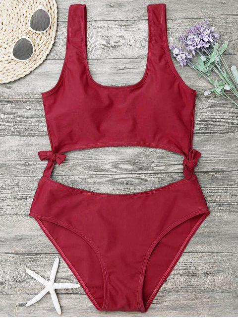 womens High Leg Cut Out Bowknot Swimwear - RED L Mobile