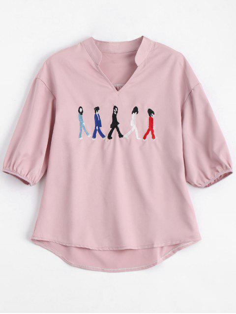 lady V Neck Figure Embroidered Patch Blouse - PINK S Mobile