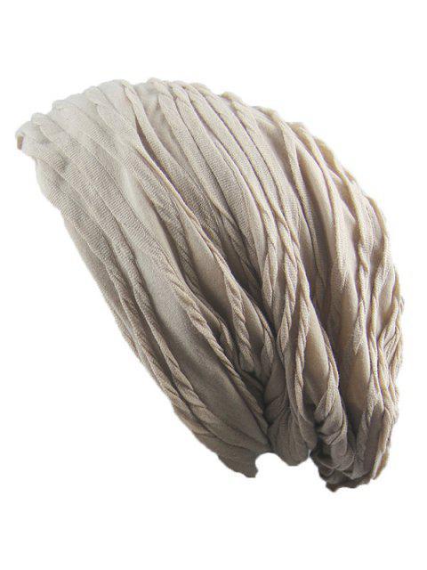 Faltende geschichtete gestrickte warme Mütze - Khaki  Mobile
