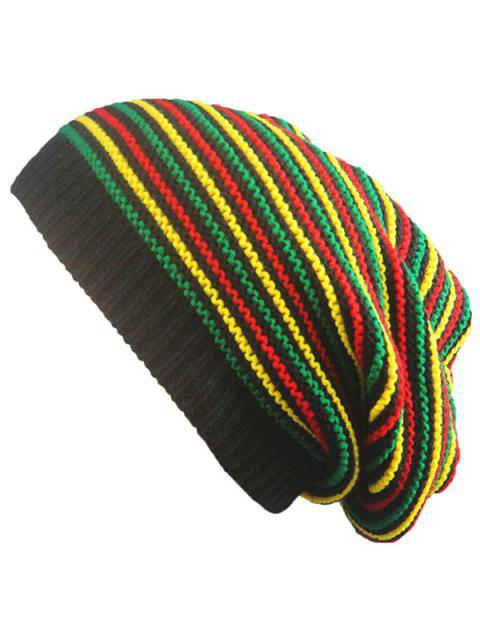 trendy Pinstriped Knitted Iridescence Folding Beanie - COLORFUL  Mobile