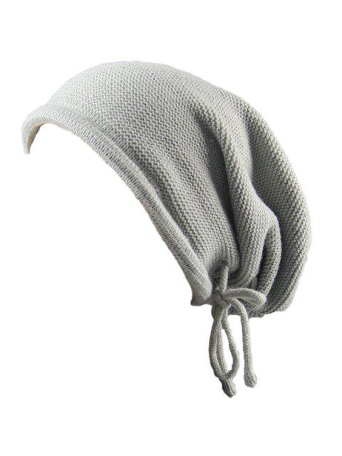 Lace Up Tricot Bonnet Chaud Bonnet - Gris Clair  Mobile