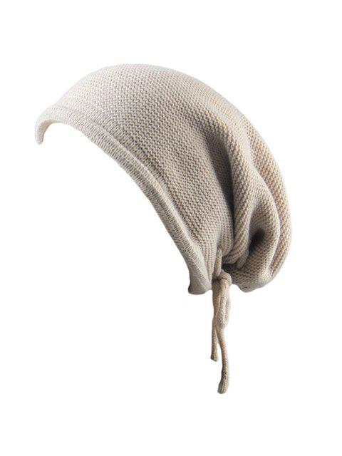 women's Lace Up Knitting Warm Beanie Hat - BEIGE  Mobile