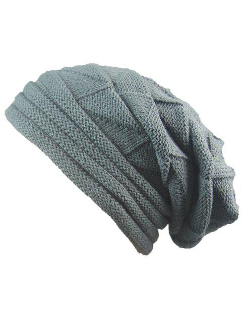 fancy Knitted Triangle Fold Warm Beanie Hat - DEEP GRAY  Mobile