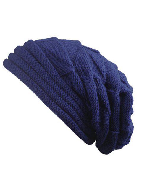 Gestrickten Dreieckige Falten Warme Mütze - Kadettenblau  Mobile