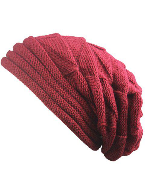 outfit Knitted Triangle Fold Warm Beanie Hat - CLARET  Mobile