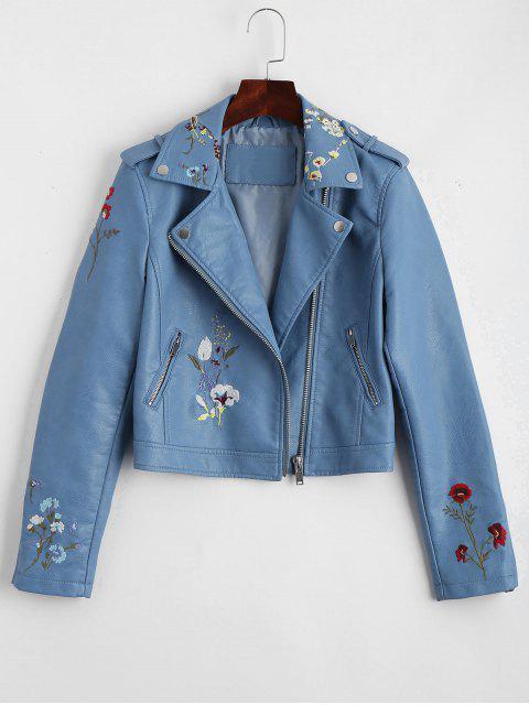 unique Floral Patched Zippered Faux Leather Jacket - LIGHT BLUE XL Mobile