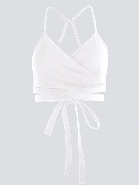 affordable Active Padded Wrap Yoga Top - WHITE M Mobile