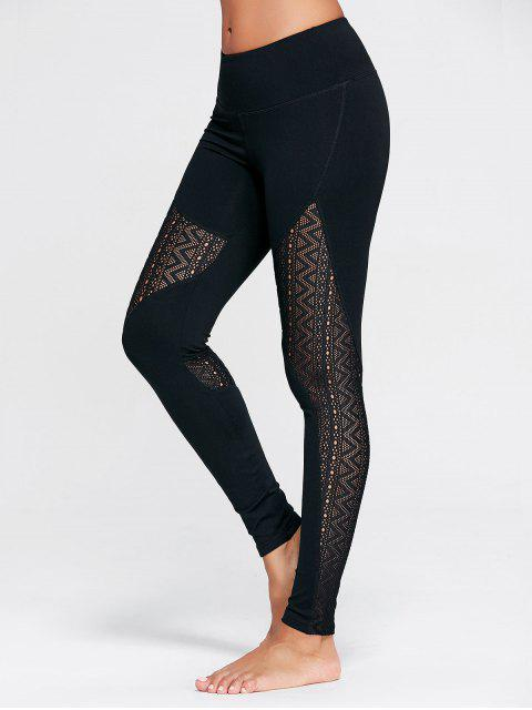 trendy Zigzag Sheer Mesh Workout Tights - BLACK M Mobile