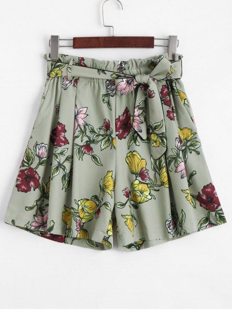 ladies Smocked Floral High Waisted Shorts - FLORAL L Mobile