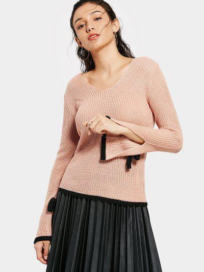 Flare Sleeve Contrasting V Neck Sweater - Pink S